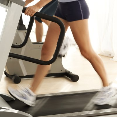 A treadmill allows you to run at a steady speed.