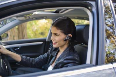 Hands-free headsets use Bluetooth technology.