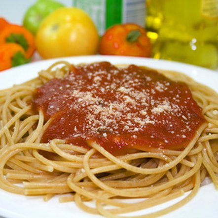 Spaghetti sauce is made from cooked tomatoes and provides key nutrients.