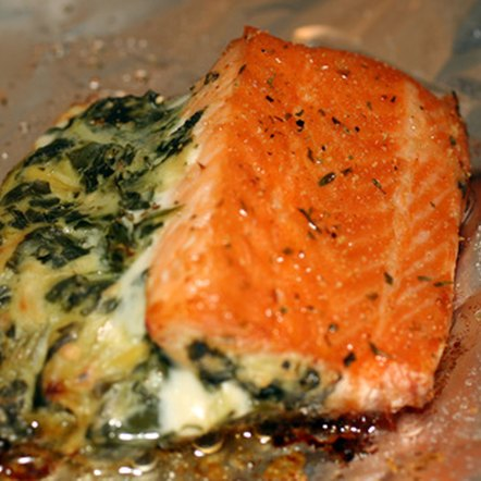 Salmon contains essential omega-3 fats.
