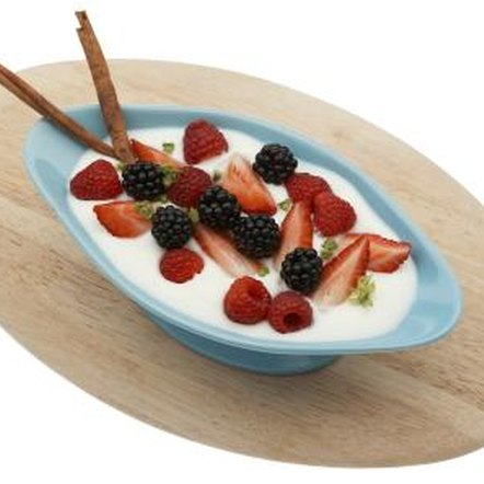 Eat fresh fruit combined with plain yogurt.