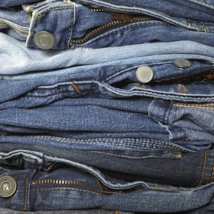 Used blue jeans are a thrift-store staple.
