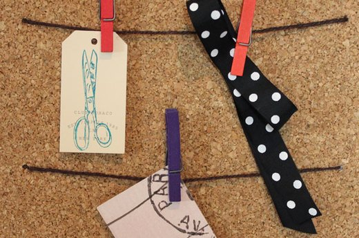 Cork Board Idea #2: Clothesline Board