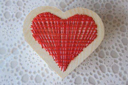 Finished embroidered heart