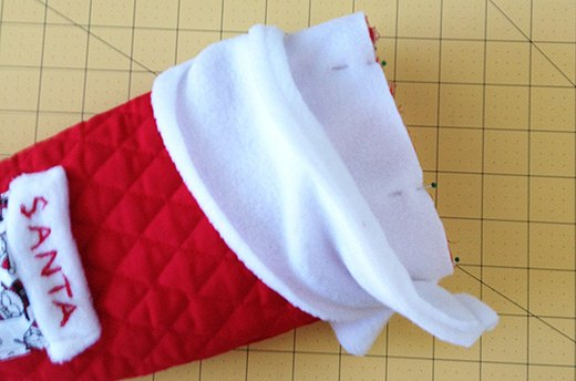 Sew Large Cuff to Stocking