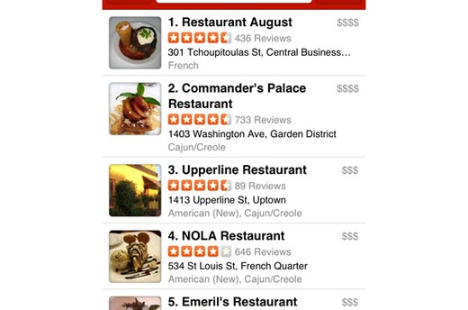 Yelp Mobile (iOS, Android; free)