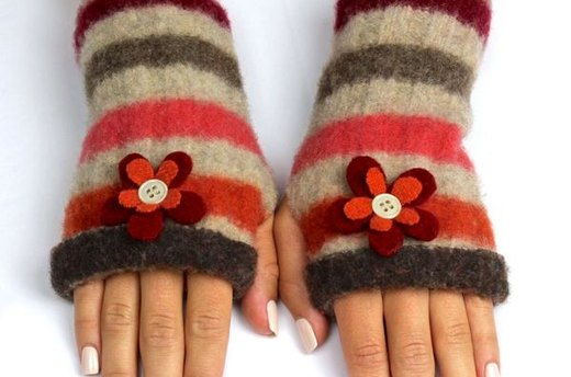 Felt Fingerless Gloves