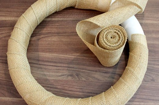 Wrap the Foam Ring in Burlap