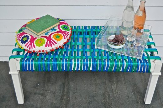 Turn an Old Coffee Table Into a Woven Bench Seat