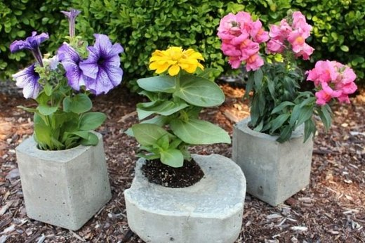 Cartons into Concrete Planters