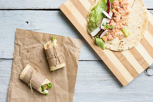 Cedar Plank Grilled Salmon and Salmon Salad Wraps