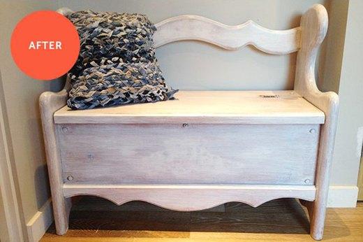 Before & After: Wooden StorageBench Makeover