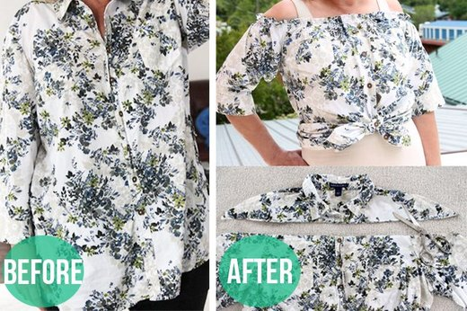 Turn a Button-Down Shirt Into a Peasant Blouse