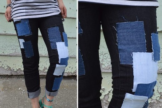 No-Sew Patchwork Jeans
