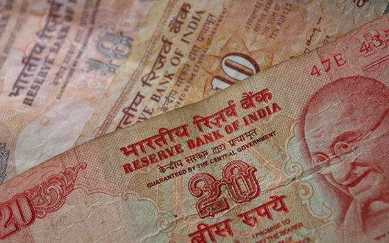 Indian rupee notes featuring Gandhi