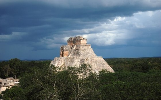 Afternoon thunderstorms are frequent during the summer months at Uxmal in the Yucatan