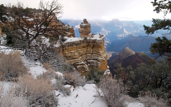 Snow blankets the Grand Canyon
