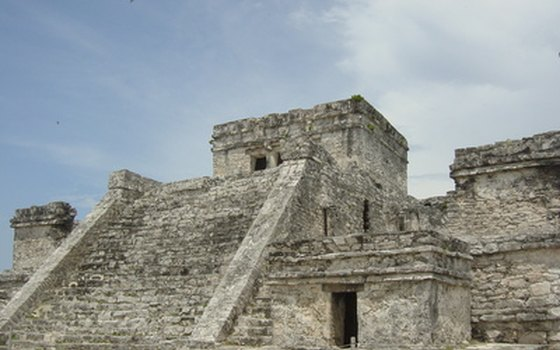 The ruins of Tulum sit on a cliff above the Caribbean.