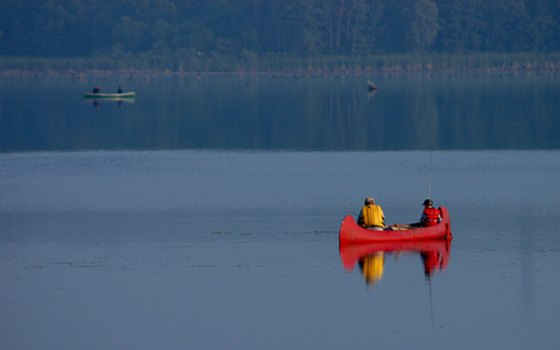 The area's lakes can be accessed by canoe for fishing.