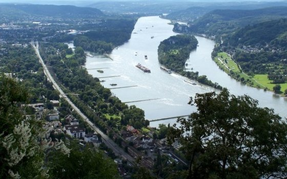 The Rhine River meanders through Europe.