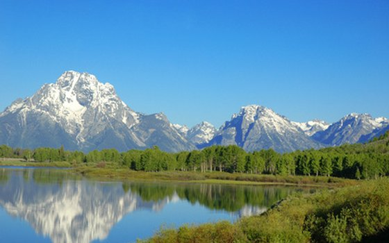 The diverse scenery of western national parks includes the great summits of Grand Teton National Park.