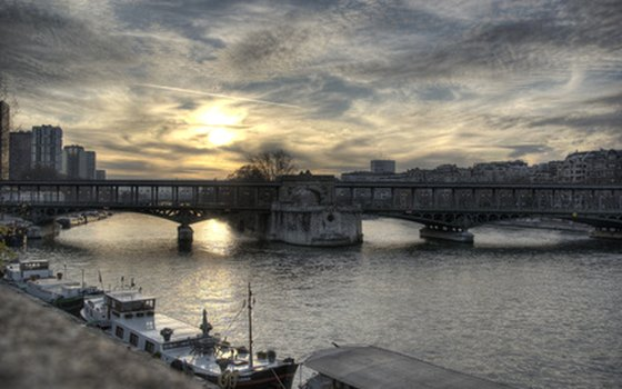 Clouds hang over the Seine in Paris.