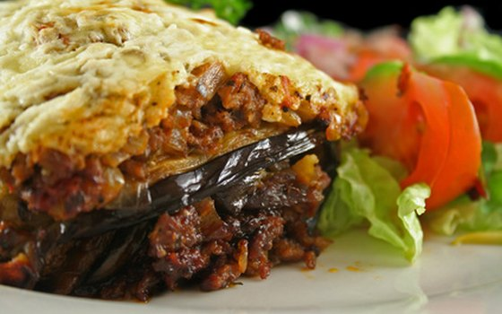 Moussaka is a typical Greek eggplant dish.