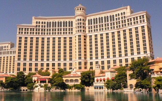 View the dancing fountains at Bellagio in the evening.