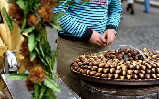 Hot roasted chestnuts are a favorite fall street snack.