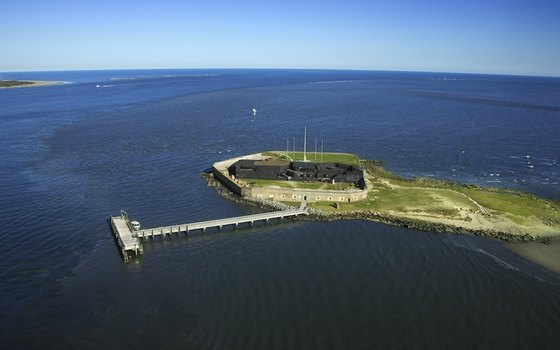An aerial view of Fort Sumter.