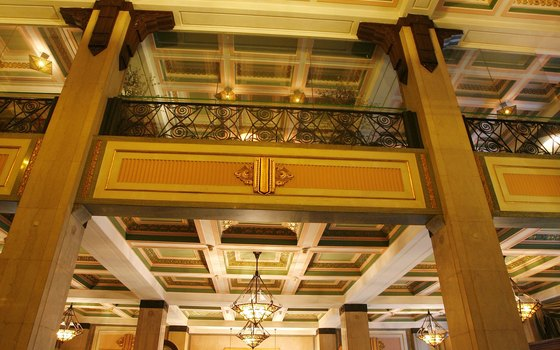 The Peace Hotel's ornate historic lobby.