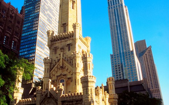 Many visitors stay at hotels along Michigan Avenue near the famous Water Tower.