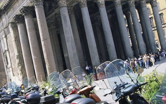 There's no place like Rome: Enjoy the city's charming blend of classical and contemporary life, like these Vespas parked outside the Pantheon.
