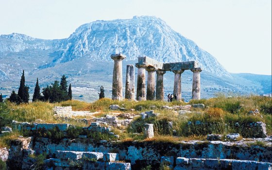 The ruins of the Temple of Apollo at Corinth.