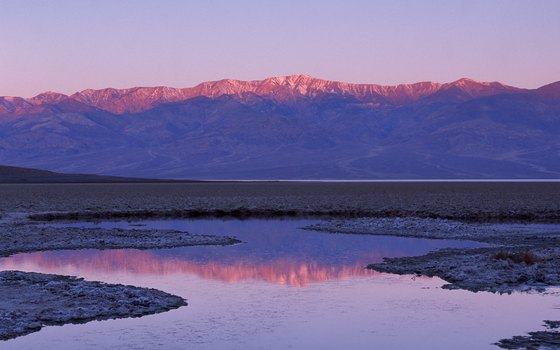 Telescope Peak in the Panamints towers over Badwater Basin.