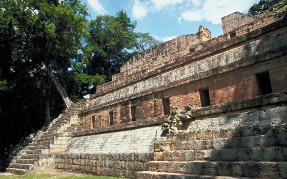 One of the well-preserved Maya temples in the middle of Copan.