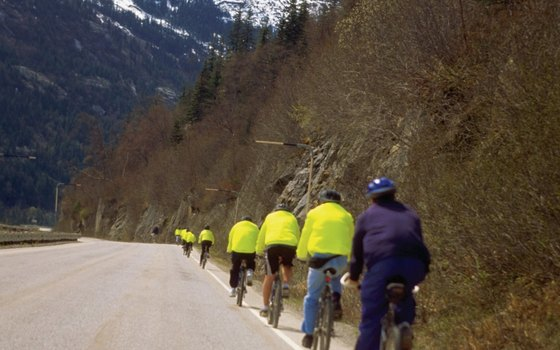 Tours feature bicycling near Skagway, Alaska.