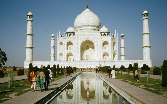 The Taj Mahal is a white marble tomb in Agra, India.