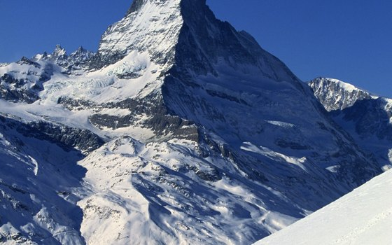 The Matterhorn towers above the town of Zermatt.