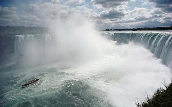 Niagara Falls straddles to border between the U.S. and Canada.