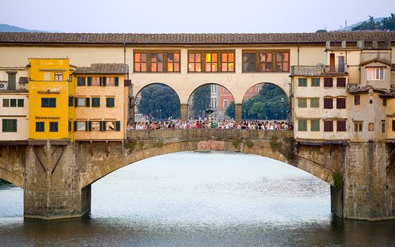 The Ponte Vecchio Bridge features shops.