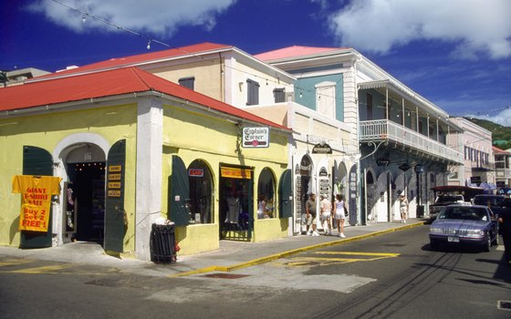 Jewelry and souvenir shops dominate Charlotte Amalie's Main Street and waterfront.