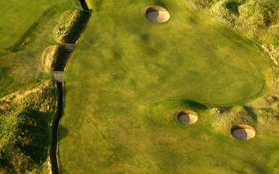 The Carnoustie Open Golf Course takes on a whole new look from the sky.