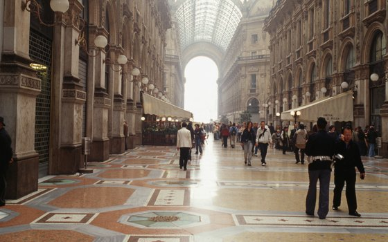 The glass ceiling and mosaic floors of Milan's Galleria Vittorio Emanuele add to the shopping center's opulence.