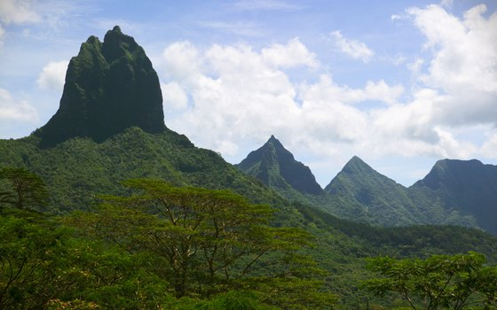 The mountains of Tahiti guard many of the island's cultural sites.