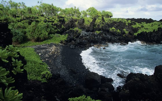 Waianapanapa is one of a handful of black sand beaches on Maui.
