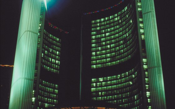 Toronto City Hall at night.