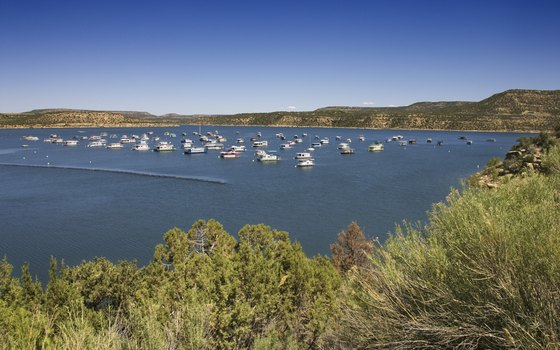 Boats on the water on Lake Powell.