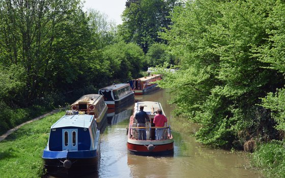 Colorful narrowboats are an icon of the U.K. countryside.