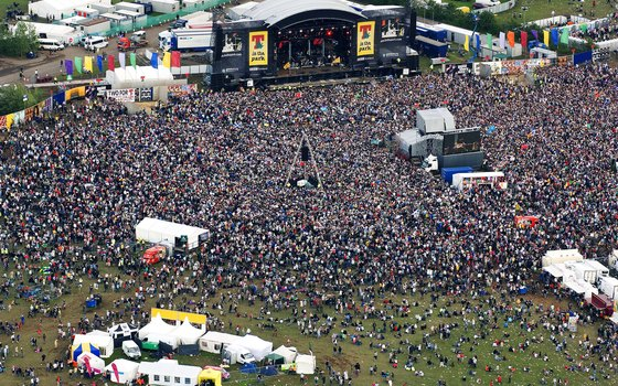 Aerial view of T in the Park music festival in Perthshire